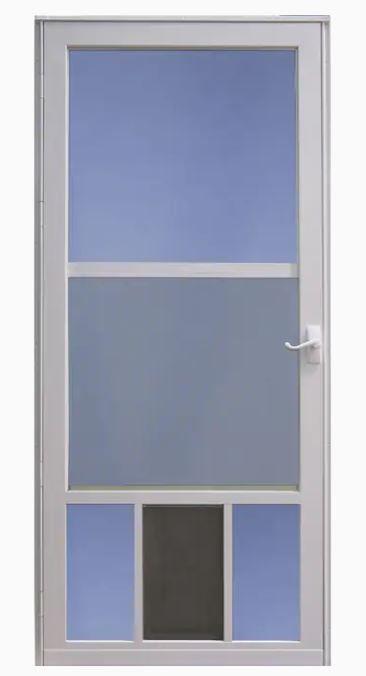 Larson Pet View 36 In X 81 In White Full View Aluminum Storm Door Lowes Com In 2020 Aluminum Storm Doors Storm Door Doors