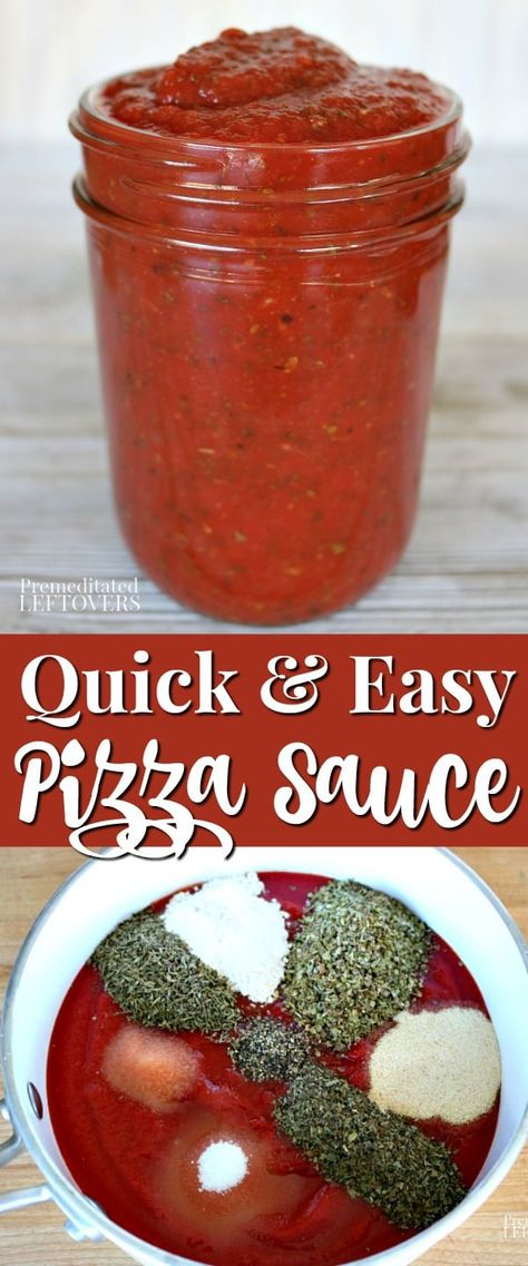 This homemade pizza sauce recipe is quick and easy to make. Despite coming together fast, this pizza sauce is very flavorful! The recipe makes enough sauce for 2 large pizzas.