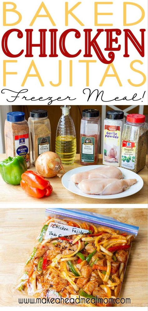 Baked Fajita Chicken Freezer Meal - no pre-cooking and minimal prep make this easy freezer meal a breeze to keep on hand for fast, delicious dinners! This one is definitely a family favorite! meals make ahead families Oven-Baked Chicken Fajitas Chicken Freezer Meals, Freezer Friendly Meals, Easy Freezer Meals, Make Ahead Meals, Freezer Cooking, Freezer Meal Recipes, Cooking Tips, Kid Meals, Budget Recipes