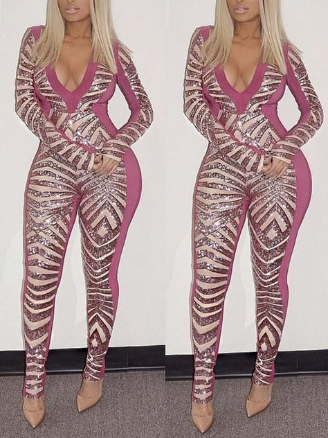 Pink Geometric Sequin Bodycon Long Sleeve V-neck Sparkly Glitter Birthday Party Clubwear Long Jumpsuit