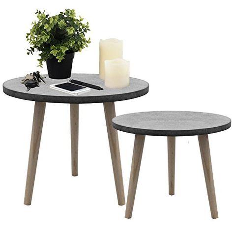 Design Retro Beistelltische Holz Kaffeetisch Couchtisch Nachttisch 40 cm