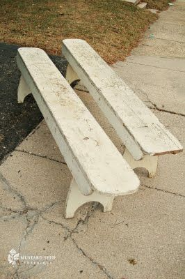 These Old School Benches When Turned Upside Down Became The Balance Beams Farmhouse Bench Old Benches Bench