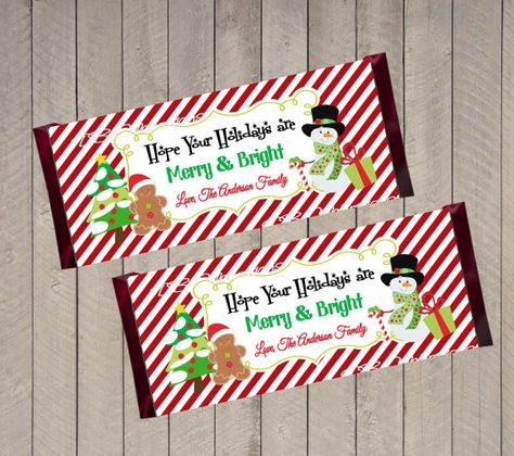 Christmas Snowman Chocolate Candy Bar Wrapper, Printable Party