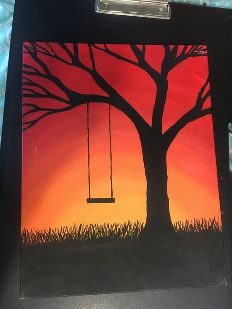 Sunset tree silhouette canvas painting # canvas painting # sunset tree silhouette - Painting Ideas On Canvas