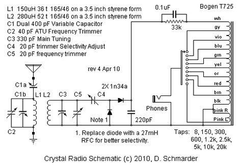 e45e7574af7eef3595bfab09fb7fb861 radios budget budget dx crystal radio schematic crystal radio pinterest bogen t725 wiring diagram at mifinder.co