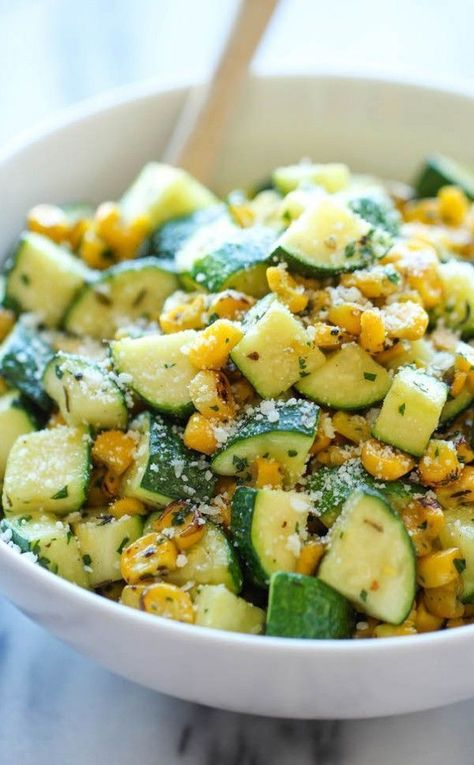 Zucchini and Corn Parmesan Zucchini and Corn - A healthy 10 minute side dish to dress up any meal. It's so simple yet full of flavor!Parmesan Zucchini and Corn - A healthy 10 minute side dish to dress up any meal. It's so simple yet full of flavor! Veggie Side Dishes, Vegetable Sides, Side Dish Recipes, Vegetable Recipes, Food Dishes, Dinner Recipes, Simple Side Dishes, Veggie Recipes Sides, Zucchini Side Dishes