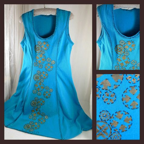 Alabama Chanin style tank dress with stencil in gold paint and ...