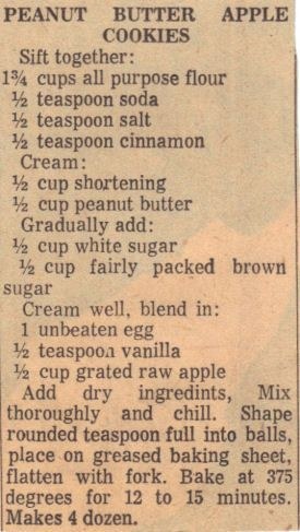 Vintage Recipe Clipping For Peanut Butter Apple Cookies