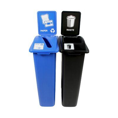 Busch Systems Waste Watcher Paper Slot Double 46 Gallon Recycling Bin And Trash Can Set Recycling Bins Trash And Recycling Bin Recycle Trash