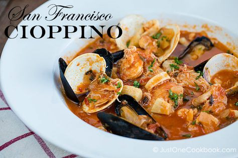 Cioppino is an Italian-American dish, and traditionally made from the catch of the day including Dungeness crab, clams, mussels, shrimp, squ...