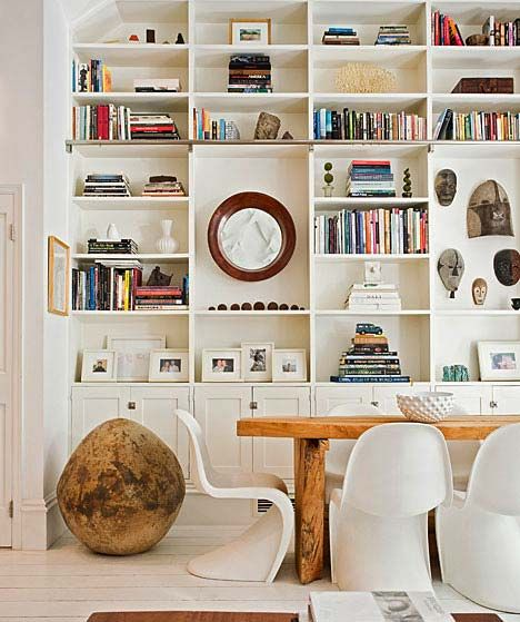 bookcase, large, full & not cluttered.