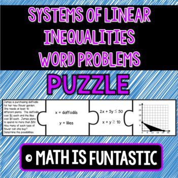 Systems Of Linear Inequalities Word Problems Puzzle Inequality