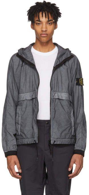 Stone Island Grey And Black Hooded Jacket Black Hooded Jacket Leather Jacket Men Jackets