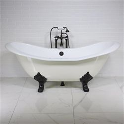 The Dudley68 68 Cast Iron Double Slipper Clawfoot Tub Package