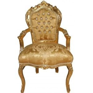 Casa Padrino Baroque Chaise De Diner Avec Accoudoirs Modele Baroque Or Or Avec Strass Bling Bling Look Antique Avec Images Fauteuil Baroque Chaise Baroque