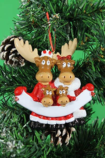 Frame Company Personalized Christmas Tree Decoration Ornaments Moose Family For The Family Of 4 Memb Christmas Tree Decorations Tree Decorations Moose Family