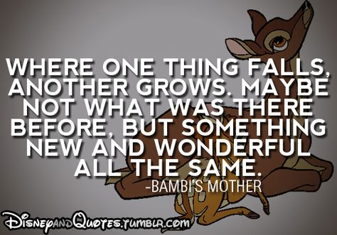 Image result for bambi where one thing falls quote