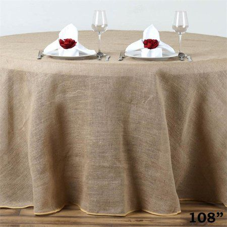 Balsacircle Natural Brown 108 Burlap Round Tablecloth Country Chic Wedding Party Dining Room Home Table Linen Burlap Tablecloth Table Cloth Round Tablecloth