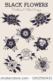 Black Flowers Traditional Tattoo Designs Traditional Tattoo Design Traditional Tattoo Flowers Black Art Tattoo