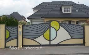 Resultat De Recherche D Images Pour Portail Coulissant Moderne Avec Rond Home Gate Design Front Gate Design Gate Design