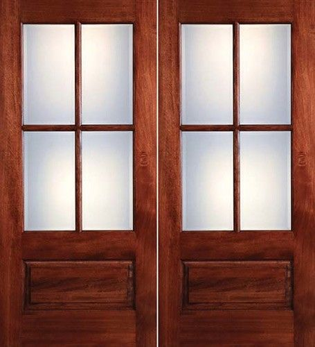 Preston 4 Lite Low E 1 Panel Mahogany Prehung Wood Double Door Unit 1398 2 Wk Lt Wood Entry Doors Double Doors Exterior Double Entry Doors