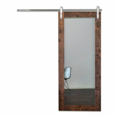 Artisan Hardware Mirrored Wood And Glass Modern Sliding Barn Door Without Installation Hardware Kit Size 36 X 84 Interior Sliding Barn Doors Glass Barn Doors Barn Door Hardware