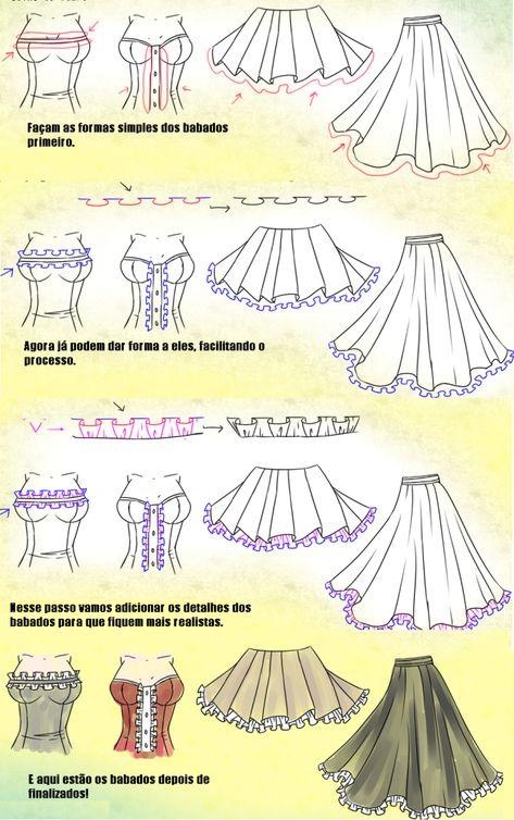 Como Desenhar Vestidos Desenhando Roupas De Anime