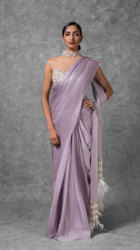 Lilac Saree with Feather Tassels