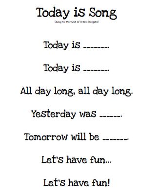 """Kindergarten Morning Board Song, """"Today is…"""" would be cute to do with students every morning before starting class to help them learn days of the week - Kindergarten Lesson Plans Kindergarten Songs, Preschool Songs, Preschool Lessons, Preschool Learning, Kids Songs, Kindergarten Classroom, Songs For Toddlers, Kindergarten Circle Time, Preschool Pictures"""