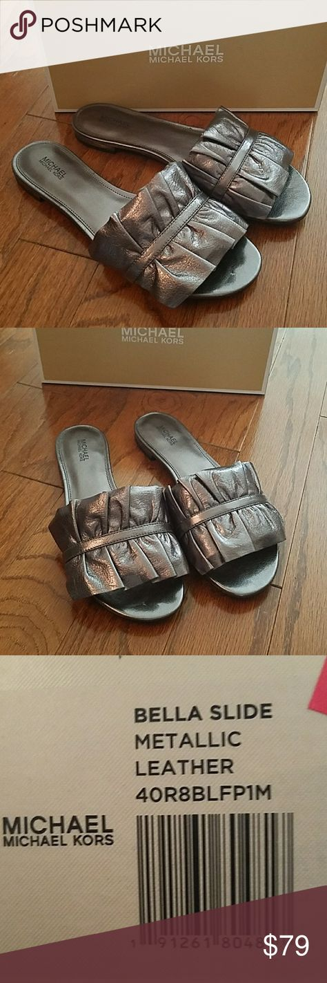 4995bcf0f6b96 MICHAEL Michael Kors Bella Metallic Silver Sandals New With Tags by MICHAEL  Michael Kors Bella Metallic Silver Leather Slides Double ruffles frill the  ...