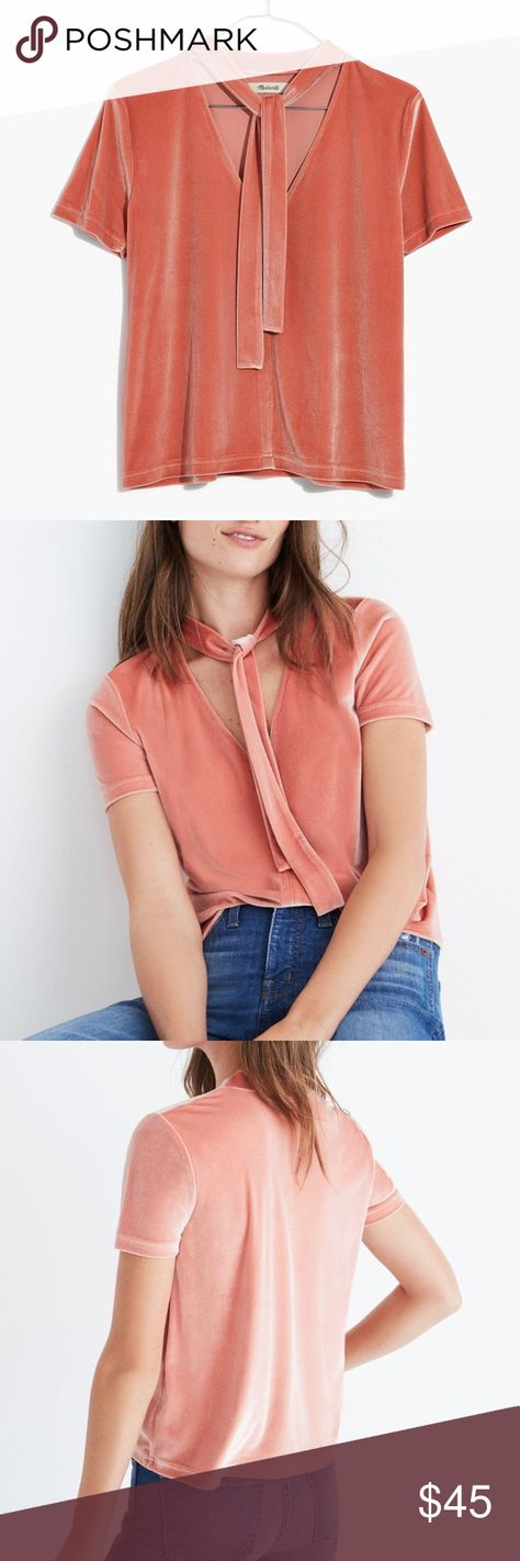 NWT Madewell Velvet Tie-Neck Top Short Sleeve NWT Madewell Womens Size M Velvet Tie-Neck Top Dried Coral Short Sleeve V Neck  A pretty velvet party top that you'll want to keep on hand all year long. Ties at the neck can sub in for a necklace—let them hang free or knot them loosely. 90% Polyester, 10% Elastane  Condition: New With Tags! (In original packaging) Tag Size: M Measurements: Armpit to armpit: 18.5