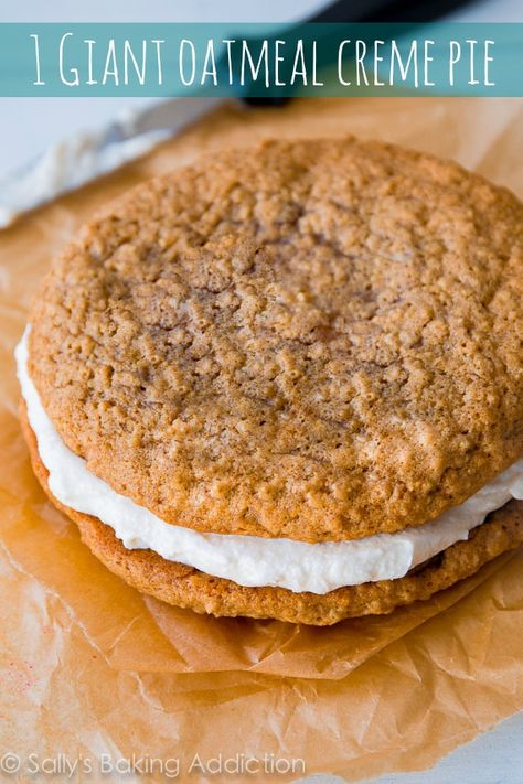 This simple recipe makes 1 Giant Oatmeal Creme Pie - like an old-fashioned Little Debbie, but bigger and better! @Sally [Sally's Baking Addiction]