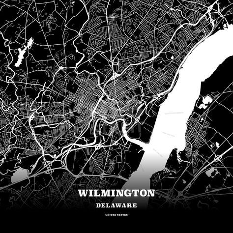 Black map poster template of Wilmington Delaware USA Maps Vector