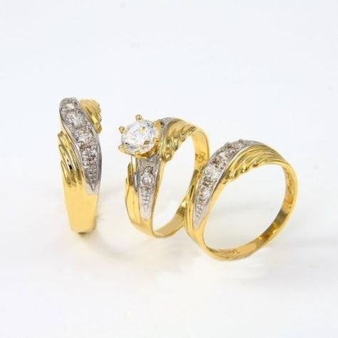 14k Two Tone Gold His And Hers Engagement Wedding Trio Cz Rings