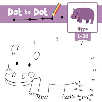 Hippopotamus Dot To Dot Game And Coloring Book Dots Game Coloring Books Games For Kids