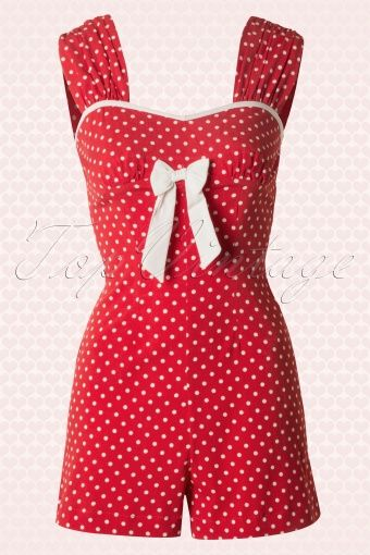 Bunny - 50s Delfine Playsuit in Red and White Polka Dot