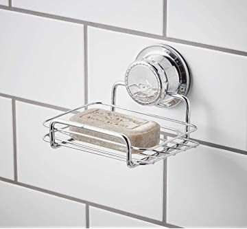 Bloomsbury Mill Extra Strong Suction Soap Dish Shower Soap Bar And Sponge Holder Rust Resistant Vacuum Shelf Chrome Shower Soap Sponge Holder Dish Soap
