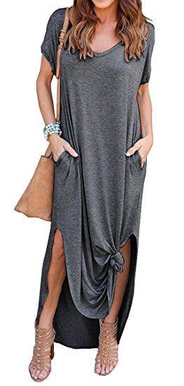 24 Grecerelle Women S Casual Loose Pocket Long Dress Short Sleeve