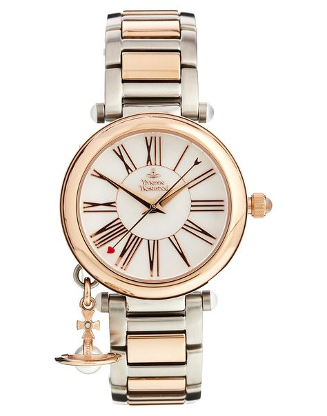 Watch by Vivienne Westwood Branded round face Roman numeral indices Triple hand movement Side stem Orb charm hanging from the bezel Bracelet strap Jewellery clasp fastening