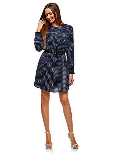 oodji Ultra Women's Belted Dress in Flowing Fabric Blue UK 4