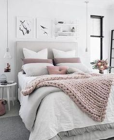Grey White And Pink Bedroom My Aesthetic Blanket Photos Lights Greybedro White Bedroom Decor Blush Grey Bedroom Bedroom Decor Cozy