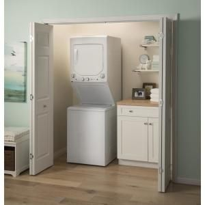 Ge White Laundry Center With 2 3 Cu Ft Washer And 4 4 Cu Ft