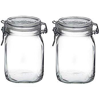 Bormioli Rocco Synchkg122276 Glass Jar 1 Liter Pack Of 2 Clear Clear Glass Jars Glass Canning Jars Glass Jars