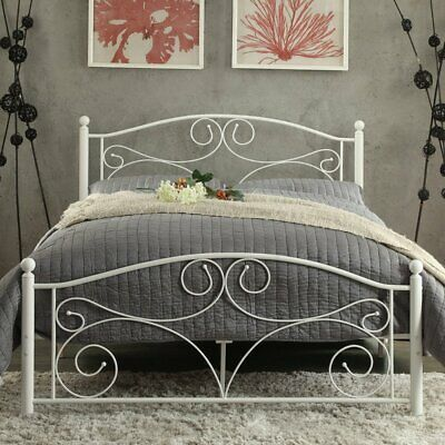 Details About White Scroll Twin Full Queen Size Metal Platform Bed Frame Headboard Footboard White Metal Bed Metal Platform Bed Platform Bed Frame