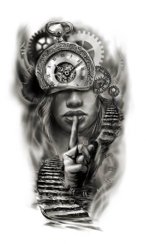 Clock face half sleeve custom tattoo design idea by Tattoo Tailors - #Clock #Custom #design #face #idea #sleeve #Tailors #Tattoo