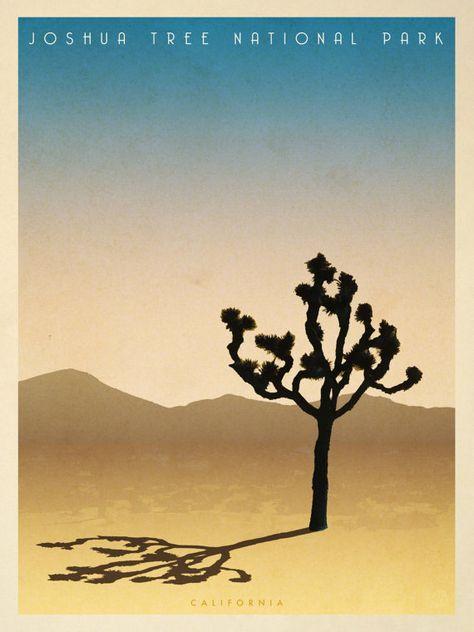 Joshua Tree vintage style giclee travel print. Mid century