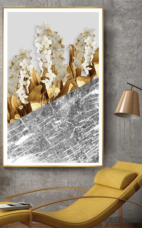 Scandinavian Golden Leaf Amp Petals Wall Art Hd With Images