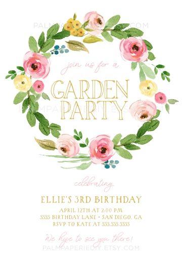 Garden Birthday Invitations Spring Instant Download Template Girl