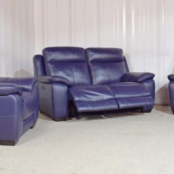 Blue Leather 3 Seater Sofa 2 Chairs Starlight Homeflair 25 Leather Sofa Sale Sofa Store Seater Sofa