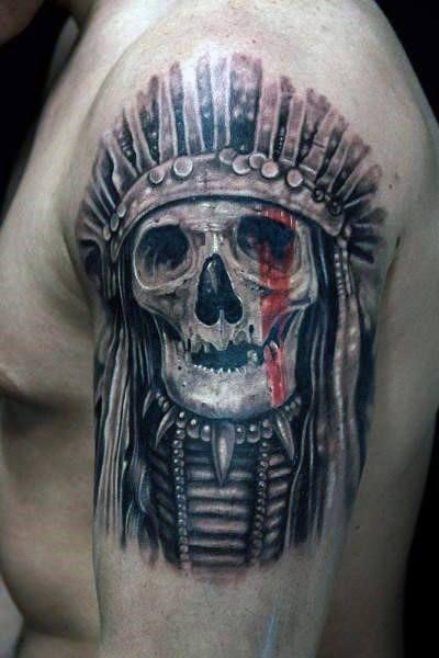 80 Indian Skull Tattoo Designs For Men Cool Ink Ideas Indian Skull Tattoos Skull Tattoo Design Tattoo Designs Men